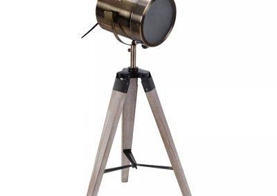 Lámpara de mesa beige patinada y madera y metal
