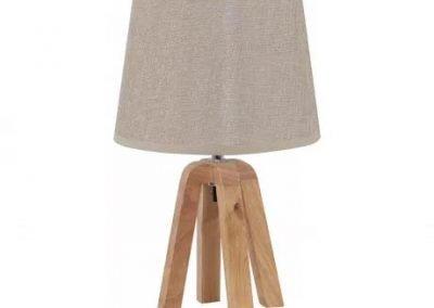 Lámpara de mesa beige y madera