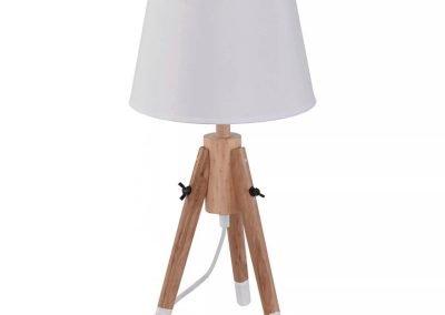 Lámpara de mesa blanco PVC y madera