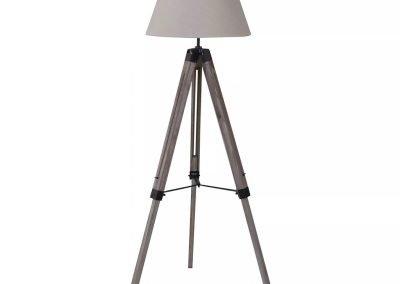 Lámpara de pie beige PVC y madera