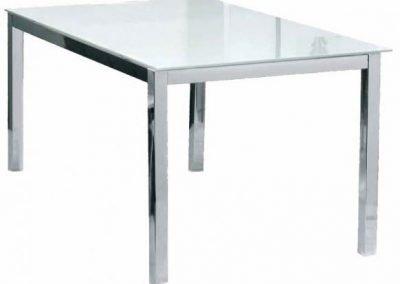 Mesa comedor Teo vidrio y patas aluminio