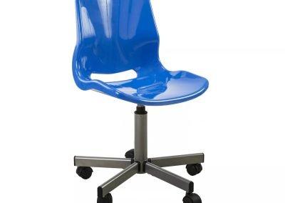 Silla escritorio azul plástico